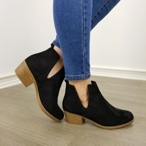 Shoes - Vegan Suede Cut Open Side Ankle Boots-FF